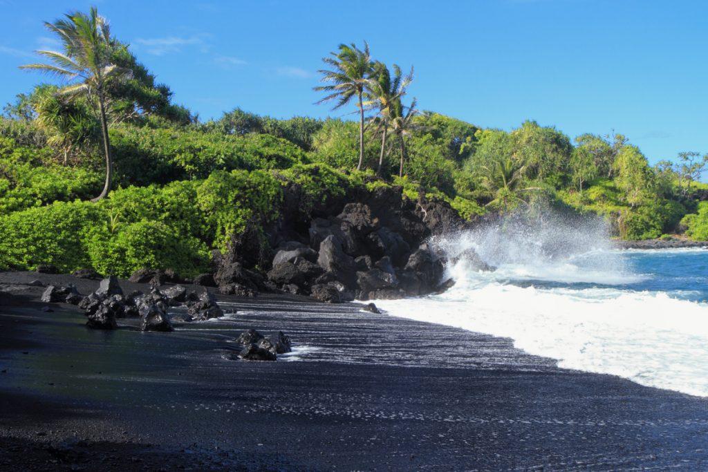 Maui activities Kahana Beach Resort walk on a black sand beach